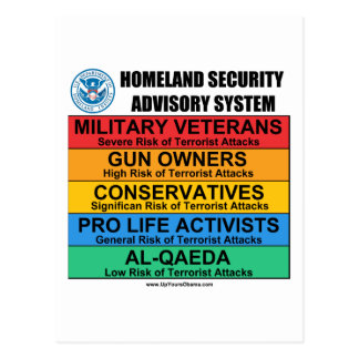 Homeland Security Advisory Postcard