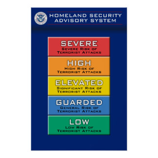 Homeland Security Advisory System Color Chart Poster