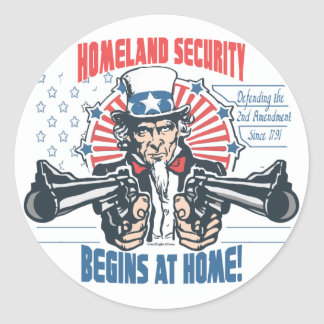 Homeland Security Begins with 2nd Amendment Classic Round Sticker