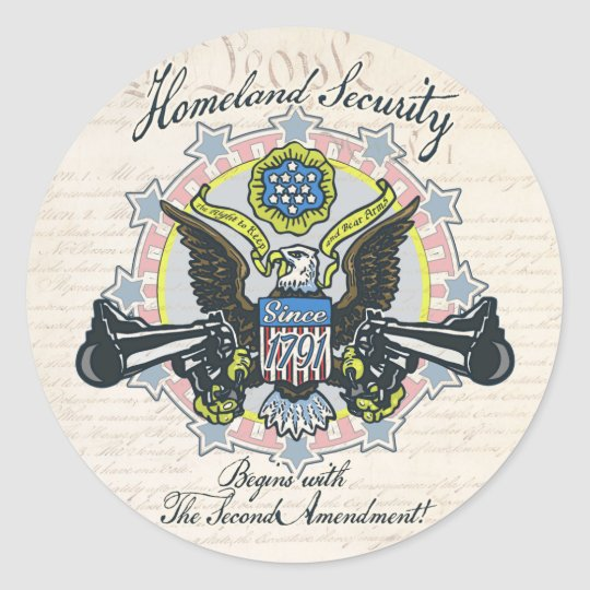 Homeland Security Gun-Toting Eagle Gear Classic Round Sticker