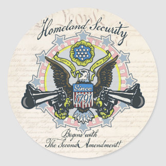 Homeland Security Gun-Toting Eagle Gear Classic Round Sticker