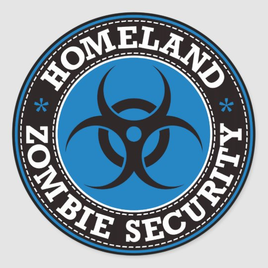 Homeland Zombie Security - Blue B Classic Round Sticker