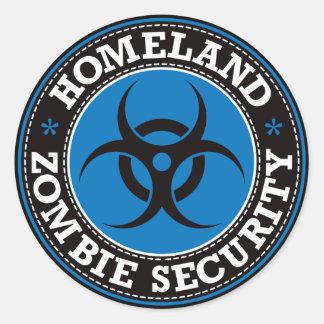 Homeland Zombie Security - Blue B Classic Round Sticker