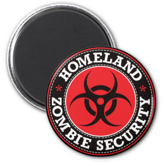 Homeland Zombie Security - Red B 2 Inch Round Magnet