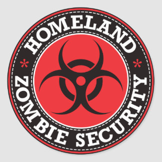 Homeland Zombie Security - Red B Classic Round Sticker