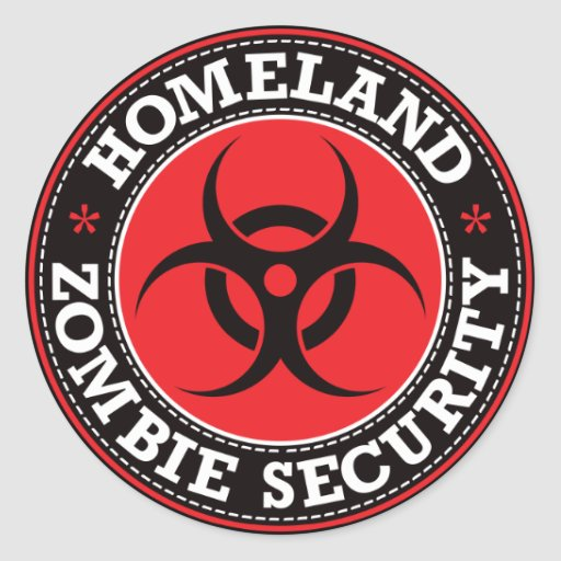 Homeland Zombie Security - Red B Round Stickers