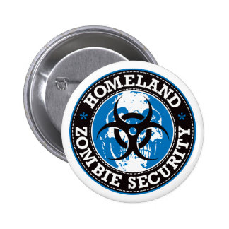 Homeland Zombie Security Skull - Blue Pinback Buttons