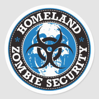 Homeland Zombie Security Skull - Blue Classic Round Sticker