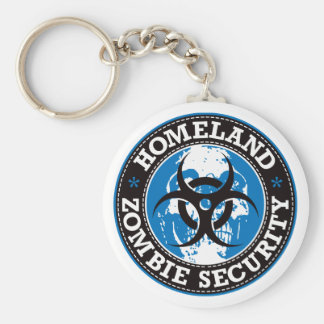 Homeland Zombie Security Skull - Blue Keychain