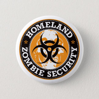 Homeland Zombie Security Skull - Orange Button
