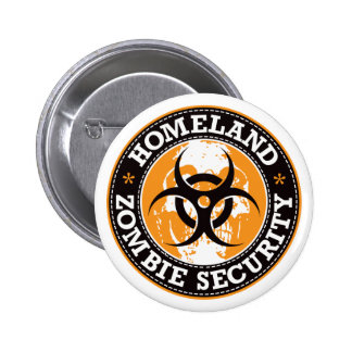 Homeland Zombie Security Skull - Orange Button