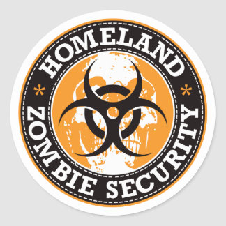 Homeland Zombie Security Skull - Orange Classic Round Sticker