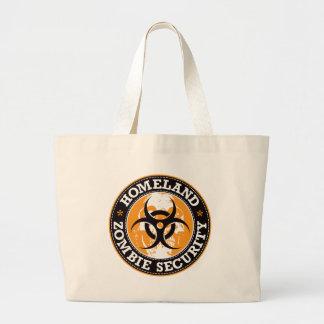 Homeland Zombie Security Skull - Orange Large Tote Bag