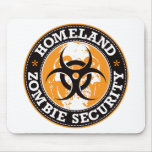 Homeland Zombie Security Skull - Orange Mouse Pad