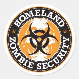 Homeland Zombie Security Skull - Orange Classic Round Sticker