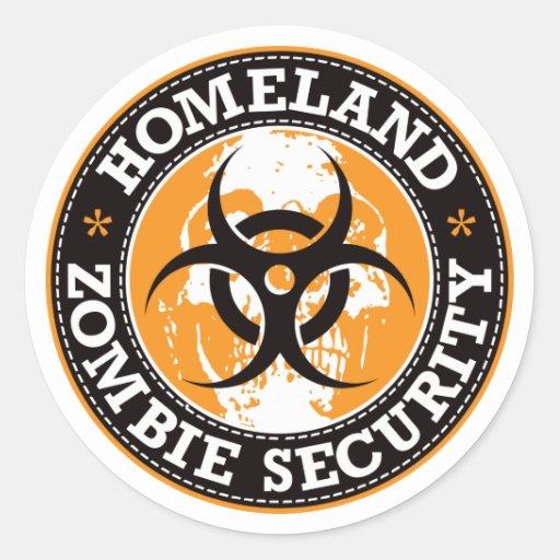 Homeland Zombie Security Skull - Orange Round Stickers