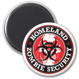 Homeland Zombie Security Skull - Red 2 Inch Round Magnet