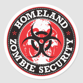 Homeland Zombie Security Skull - Red Classic Round Sticker