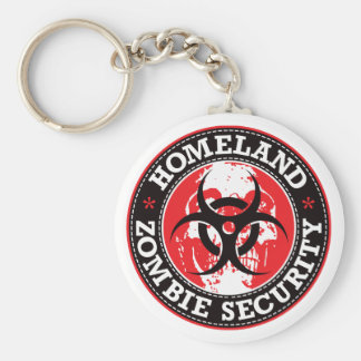 Homeland Zombie Security Skull - Red Keychain