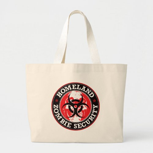 Homeland Zombie Security Skull _ Red Large Tote Bag