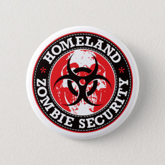 Homeland Zombie Security Skull - Red Pinback Button