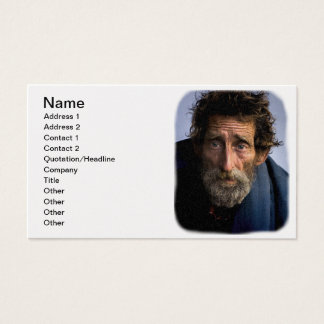Homeless and Helpless Bearded Man Business Card