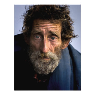 "Homeless and Helpless Bearded Man 8.5"" X 11"" Flyer"