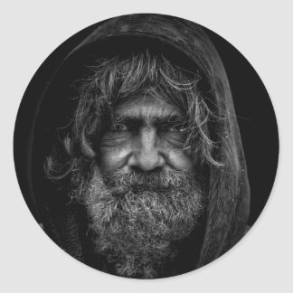 Homeless and Helpless Man in Black and White Classic Round Sticker