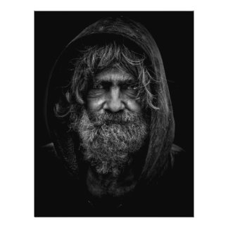 """Homeless and Helpless Man in Black and White 8.5"""" X 11"""" Flyer"""