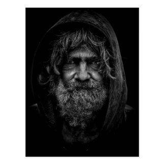 Homeless and Helpless Man in Black and White Postcard