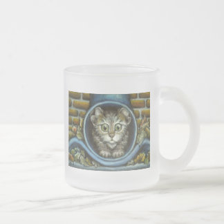 Homeless kitty hiding in a rain pipe 10 oz frosted glass coffee mug