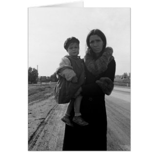 Homeless mother and child - 1939 card