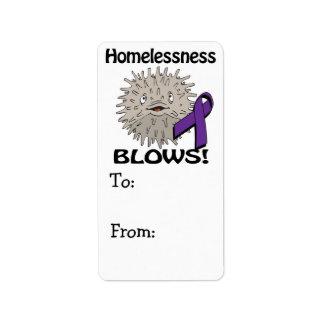 Homelessness Blows Awareness Design Address Label
