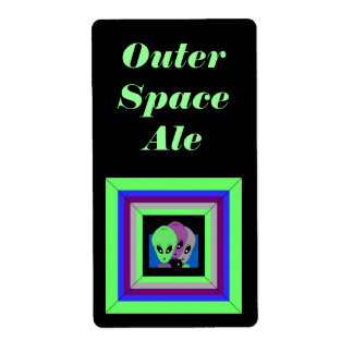 Homemade Alien Outer Space Homebrew Brewing Labels