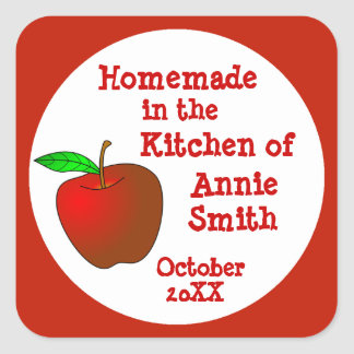 Homemade Apple Butter or Applesauce Labels Square Sticker