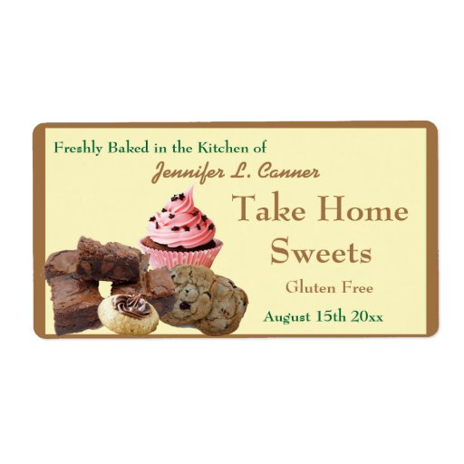 Homemade Baked Goods Assortment Bright Brown Edge Labels