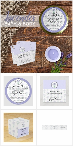 Homemade Bath + Body Packaging + Labels : Lavender