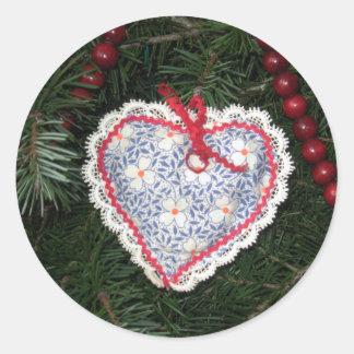 Homemade Blue Flower Print Heart Ornament Classic Round Sticker