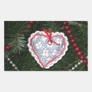 Homemade Blue Flower Print Heart Ornament Rectangular Sticker