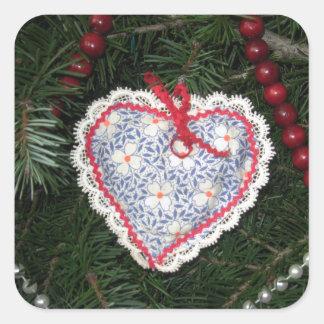 Homemade Blue Flower Print Heart Ornament Square Sticker