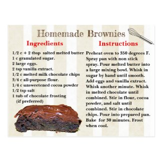 Homemade Brownies Recipe Postcard