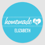 Homemade by you blue food label jar seal round sticker