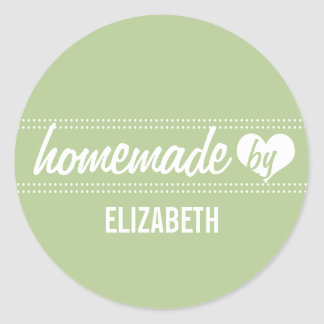 Homemade by you light green food label jar seal stickers