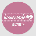 Homemade by you plum purple food label jar seal classic round sticker