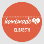 Homemade by you red food label jar seal classic round sticker