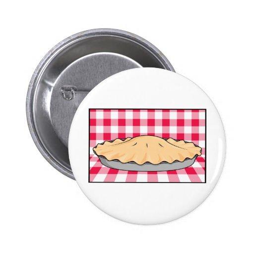 homemade cherry pie on checkered background 2 inch round button