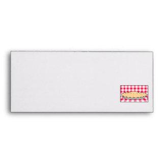 homemade cherry pie on checkered background envelope
