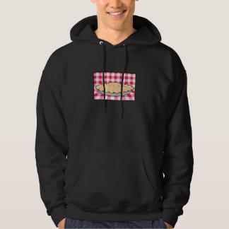 homemade cherry pie on checkered background hoodie