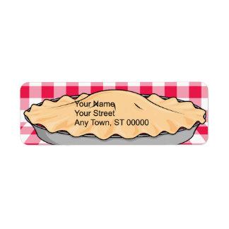 homemade cherry pie on checkered background custom return address labels