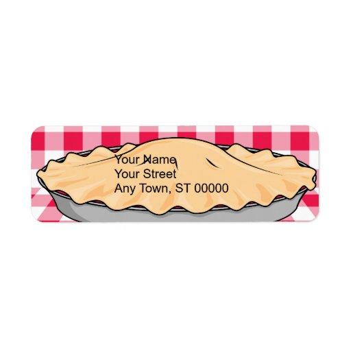 homemade cherry pie on checkered background return address label